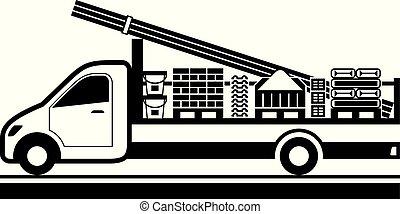 Camión Tipper con materiales de construcción