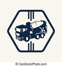 camión, vector, ilustración, símbolo, lineal, señal, concreto, concept., icono, línea
