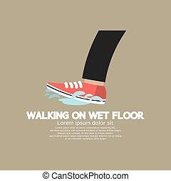 Caminando en vector de suelo mojado.