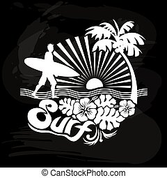 Caminando surfista, caligrafía tropical