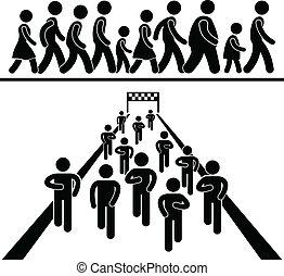 caminata, corra, comunidad, pictogram