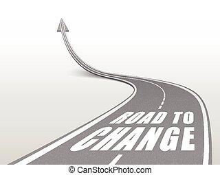 Camino a cambiar las palabras en la carretera