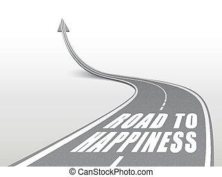 Camino a la felicidad palabras en carretera