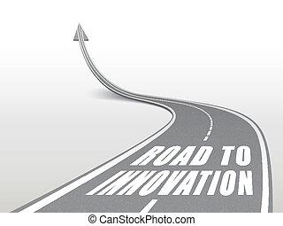 Camino a la innovación palabras en la carretera de carretera
