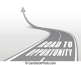 Camino a la oportunidad palabras en carretera de carretera