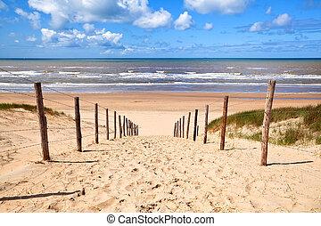 Camino a la playa de arena junto al mar del norte