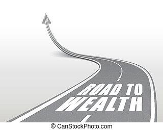 Camino a la riqueza palabras en carretera de carretera