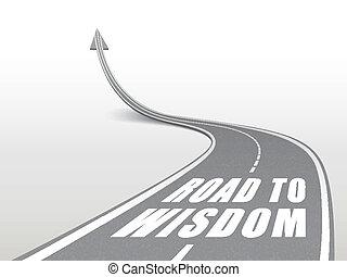 Camino a las palabras sabias en la carretera