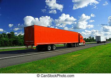 Camino a velocidad de camión
