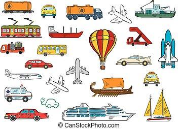 Camino, aire, ferrocarril, símbolos de transporte de agua