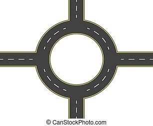 Camino, autopista, alrededor de la vista superior. Dos caminos con las mismas marcas. Ilustración