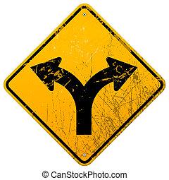 camino bifurcado, señal