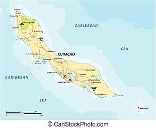 camino, caribe, curacao, abc, isla, vector, mapa