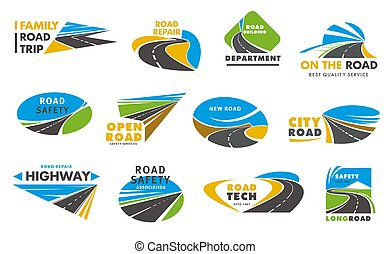 camino, carretera, camino, seguridad, iconos, vector, o