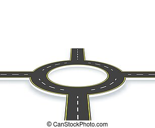 Camino, carretera, rotonda en perspectiva con sombra. Dos caminos con las mismas marcas. Ilustración