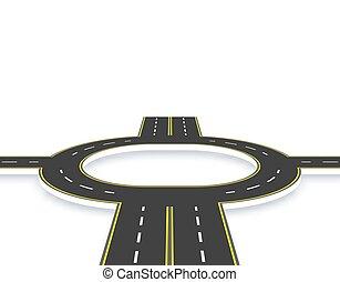Camino, carretera, rotonda en perspectiva con sombra. Dos carriles y cuatro caminos con las mismas marcas. Ilustración