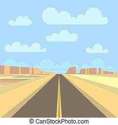Camino, carretera y paisaje de montaña fondo. Ilustración plana