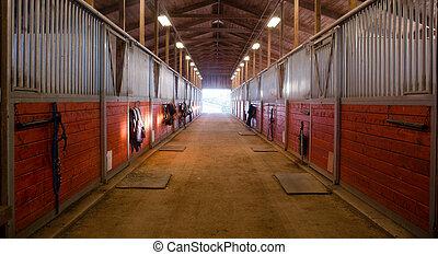 Camino central a través del corral de caballos rancho ecuestre estable