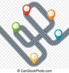 Camino con marca de ubicación o puntero de alfileres. Vector
