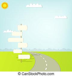 Camino con señal de dirección y nubes