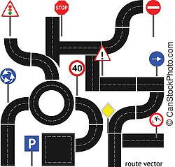Camino con señales de carretera