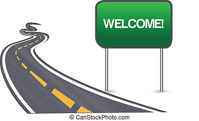 Camino de asfalto con señal de bienvenida
