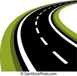 Camino de asfalto curvado