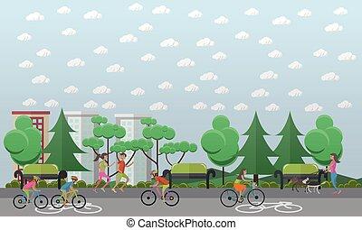 Camino de bicicleta en el concepto del parque ilustración vectorial, estilo plano