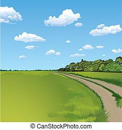 Camino de campo, escena rural