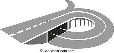 Camino de carretera con icono abstracto puente