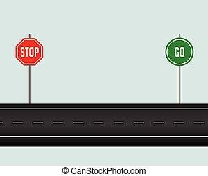 Camino de carretera con parada e ir firmar