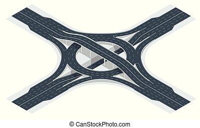 Camino de cruce de carreteras isométricas y paso de intercambio. Ilustración de vectores