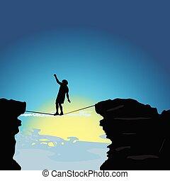 camino de cuerda floja, vector, ilustración, hombre