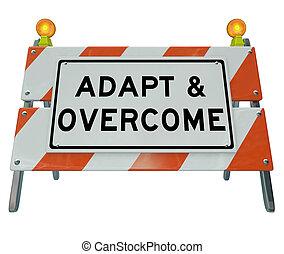 camino, desafío, el solucionar, señal, barricada, adaptar, problema, venza
