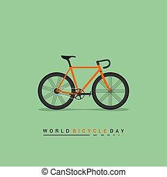 camino, ilustración, vector, bicicleta