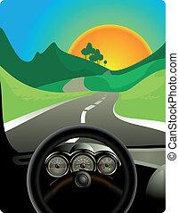 camino, largo, conducción