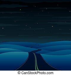 Camino nocturno. Paisaje vector