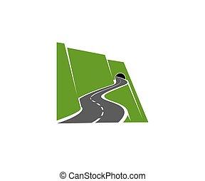 camino, o, túnel, icono, carretera montaña, bobina