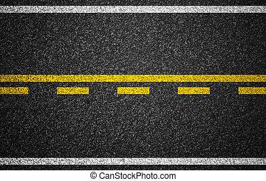 camino, plano de fondo, marcas, carretera, asfalto