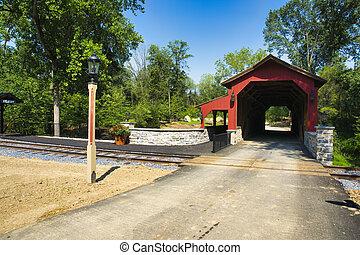 camino, puente baranda, cubierto, pista, restaurado