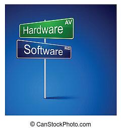 camino, software, dirección, signo., hardware