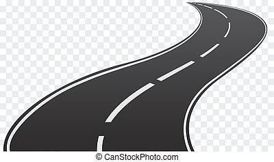camino tortuoso, transparente, fondo., aislado, vector