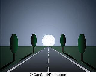 Camino vacío. Luz lunar