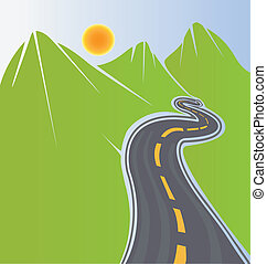 Camino y montañas verdes
