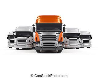 Camiones aislados en blanco