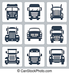 camiones, iconos, aislado, vector, frente, set:, vista