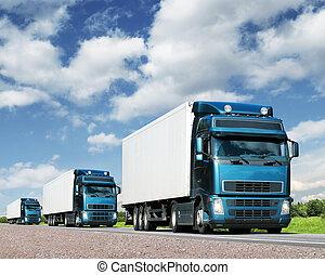 camiones, transporte, convoy, carretera, carga, concepto