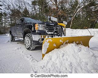 camioneta, arada, nieve
