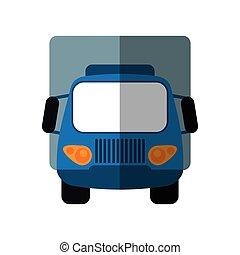 Camioneta azul pequeña sombra de transporte de carga