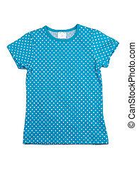 Camisa azul con lunares blancos